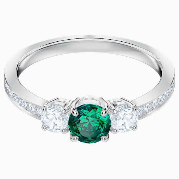 Attract Trilogy Round Ring, Green, Rhodium plated - Swarovski, 5416151