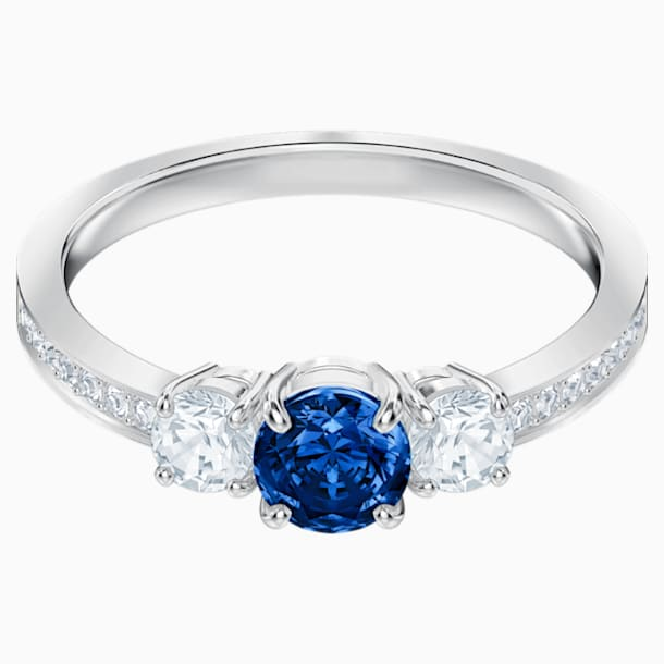 Attract Trilogy Round Ring, Blue, Rhodium plated - Swarovski, 5416152