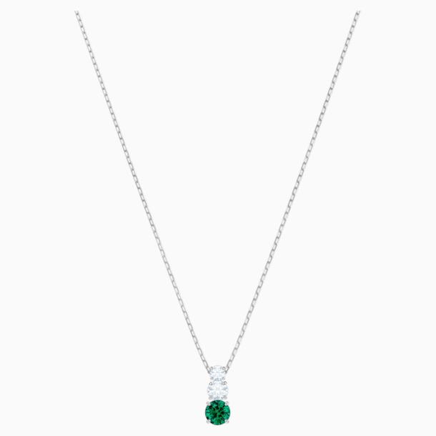 Attract Trilogy Round Pendant, Green, Rhodium plated - Swarovski, 5416153