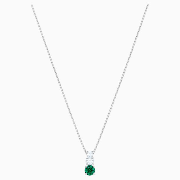 Attract Trilogy Round Pendant, Green, Rhodium plated - Swarovski, 5416153