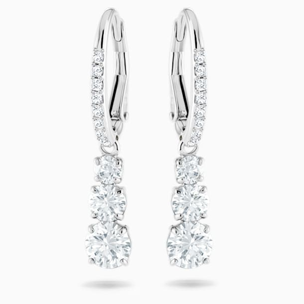 Attract Trilogy Round Pierced Earrings, White, Rhodium plated - Swarovski, 5416155