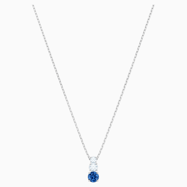 Attract Trilogy Round Pendant, Blue, Rhodium plated - Swarovski, 5416156