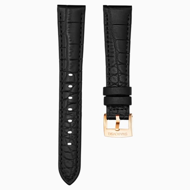 17mm Watch strap, Leather with stitching, Black, Rose-gold tone plated - Swarovski, 5419164