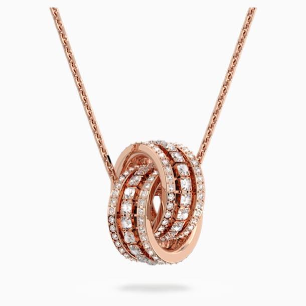 Wisiorek Further, biały, powłoka w odcieniu różowego złota - Swarovski, 5419853
