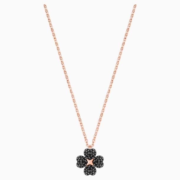 Přívěsek s květinou Latisha, černý, pozlacený růžovým zlatem - Swarovski, 5420246