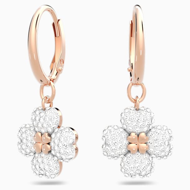 Latisha Pierced Earrings, White, Rose-gold tone plated - Swarovski, 5420249
