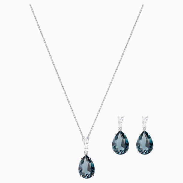 Parure Vintage, bleu canard, Métal rhodié - Swarovski, 5421820