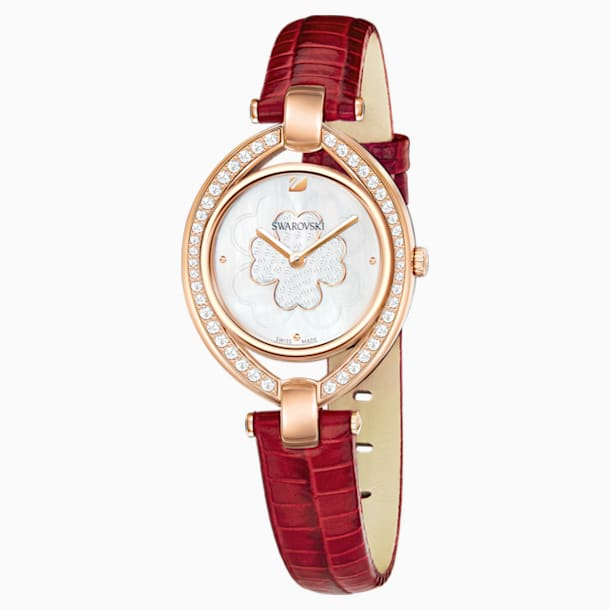 Stella Watch, Leather strap, Red, Rose-gold tone PVD - Swarovski, 5421822