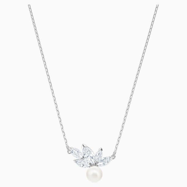 Louison Pearl Pendant, White, Rhodium plated - Swarovski, 5422685