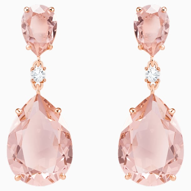 Κρεμαστά τρυπητά σκουλαρίκια Vintage, ροζ, επιχρυσωμένα σε χρυσή ροζ απόχρωση - Swarovski, 5424361