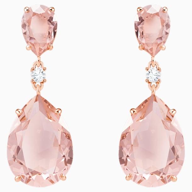 Vintage Drop Pierced Earrings, Pink, Rose-gold tone plated - Swarovski, 5424361