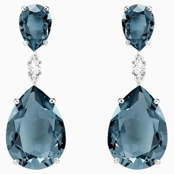 Vintage 水滴形耳环, 蓝绿色, 镀铑 - Swarovski, 5424362