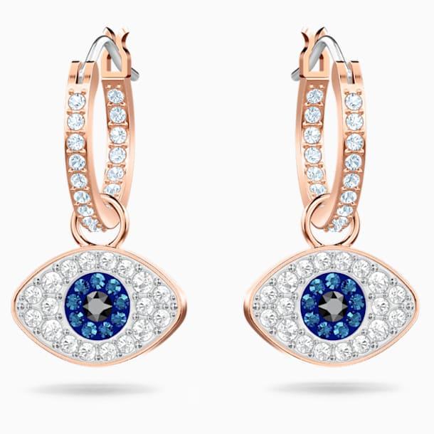 Τρυπητά σκουλαρίκια κρίκοι Swarovski Symbolic Evil Eye, μπλε, επιχρυσωμένο σε χρυσή ροζ απόχρωση - Swarovski, 5425857