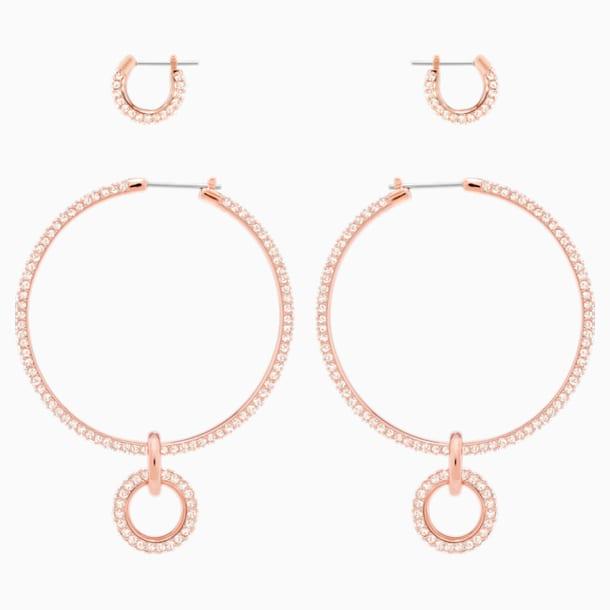 Zestaw kolczyków sztyftowych Stone, różowe, w odcieniu różowego złota - Swarovski, 5426004