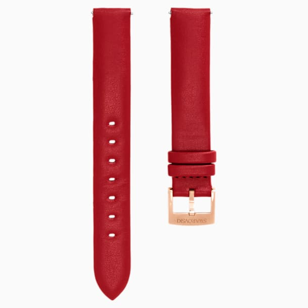 14mm Watch strap, Leather, Red, Rose-gold tone plated - Swarovski, 5426833