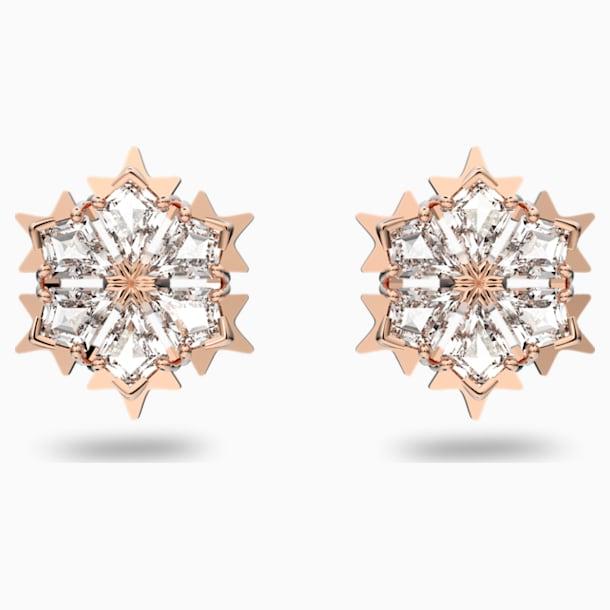 Magic Pierced Earrings, White, Rose-gold tone plated - Swarovski, 5428429