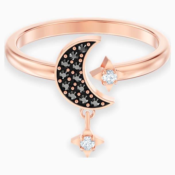 Swarovski Symbolic Moon Motif Ring, Black, Rose-gold tone plated - Swarovski, 5429735