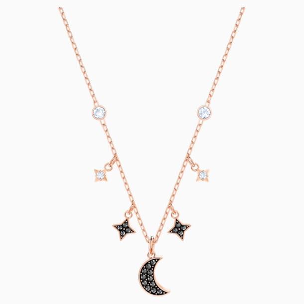 Náhrdelník Symbolic Moon Swarovski, Černý, Pozlacený růžovým zlatem - Swarovski, 5429737