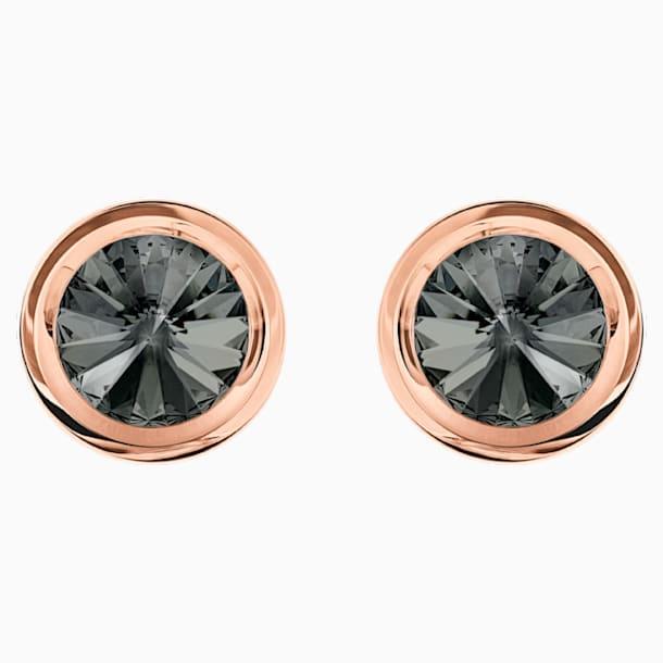 Round Cufflinks, Grey, Rose-gold tone plated - Swarovski, 5429900