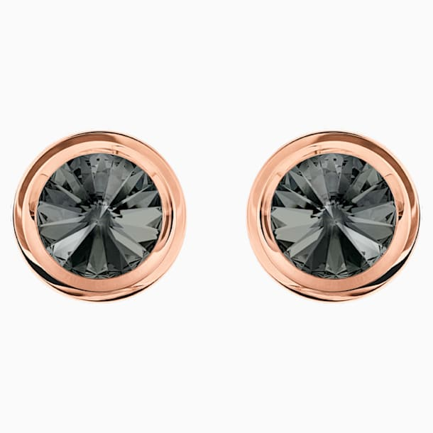 Round Cufflinks, Gray, Rose-gold tone plated - Swarovski, 5429900
