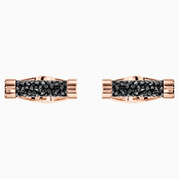Crystaldust Cufflinks, Black, Rose-gold tone plated - Swarovski, 5429902