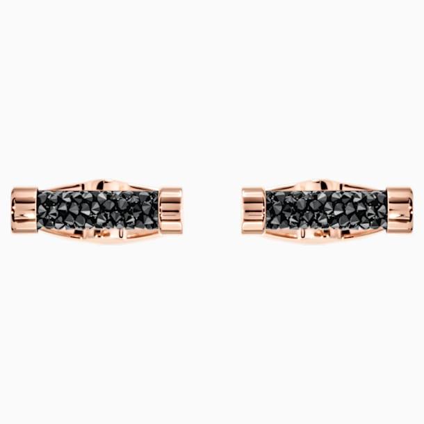 Crystaldust mandzsettagombok, fekete, rozéarany árnyalatú bevonattal - Swarovski, 5429902