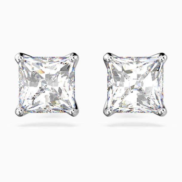 Attract Stud Pierced Earrings, White, Rhodium plated - Swarovski, 5430365