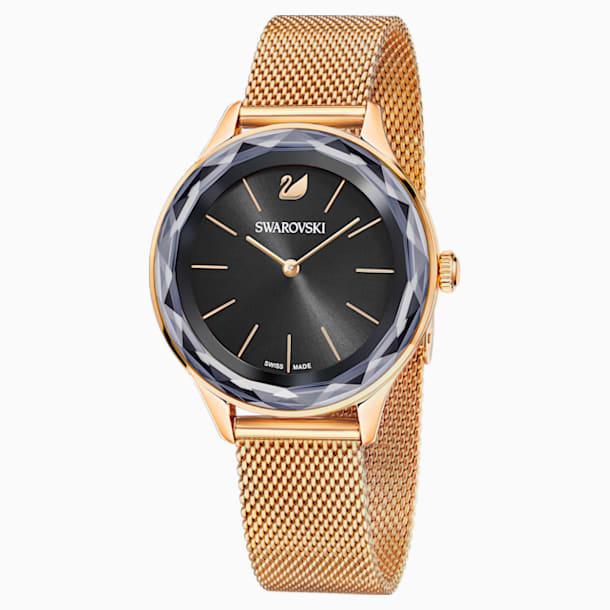 Ceas Octea Nova, brățară milaneză, negru, în nuanță de aur roz obținută prin depunere fizică de vapori - Swarovski, 5430424