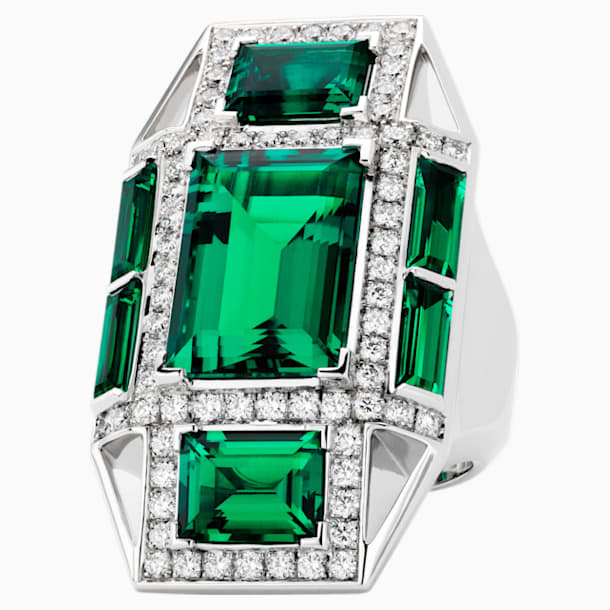 Mosaic Ring, Created Emeralds, 18K White Gold, Size 55 - Swarovski, 5430524