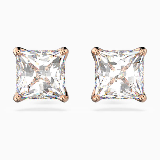 Attract Stud Pierced Earrings, White, Rose-gold tone plated - Swarovski, 5431895
