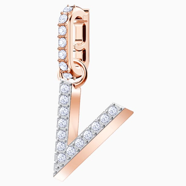 Swarovski Remix Collection Charm V, Белый Кристалл, Покрытие оттенка розового золота - Swarovski, 5437610