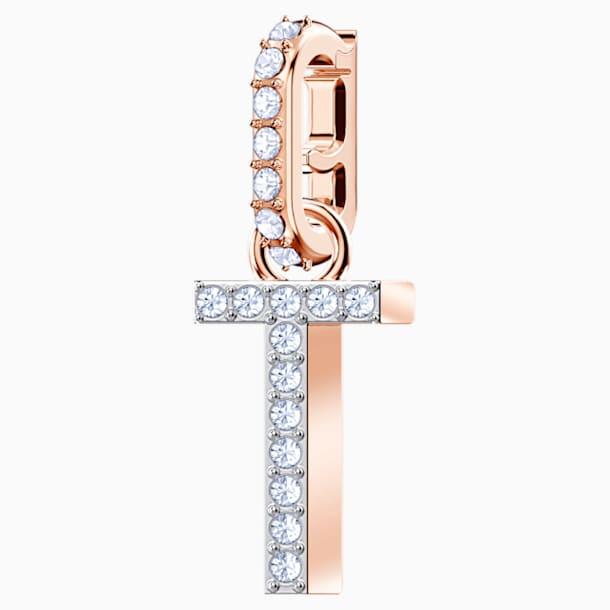 """Przywieszka """"T"""" z kolekcji Swarovski Remix, biała, w odcieniu różowego złota - Swarovski, 5437615"""