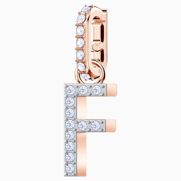 """Przywieszka """"F"""" z kolekcji Swarovski Remix, biała, w odcieniu różowego złota - Swarovski, 5437616"""