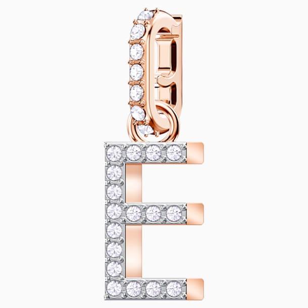 Charm Swarovski Remix Collection E, branco, banhado a rosa dourado - Swarovski, 5437621