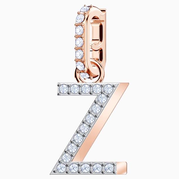 Swarovski Remix Collection Charm Z, White, Rose-gold tone plated - Swarovski, 5437627