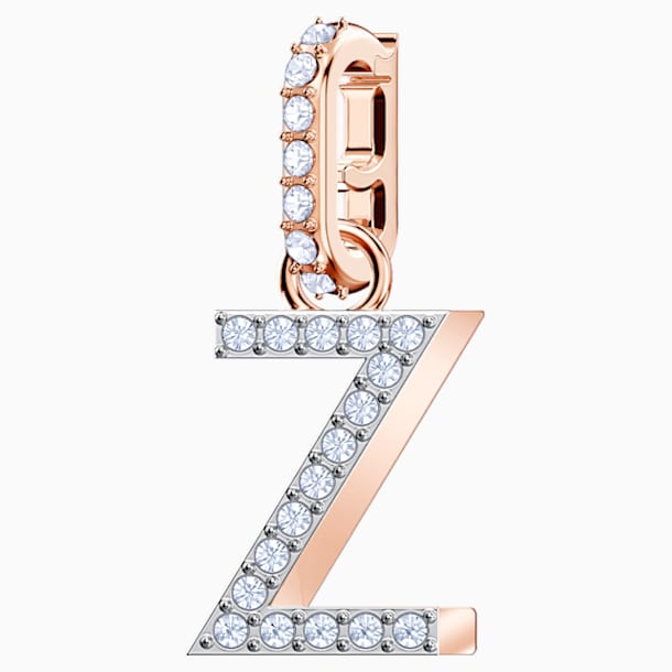 Swarovski Remix Collection Charm Z, White, Rose-gold tone plated - Swarovski, 5437627