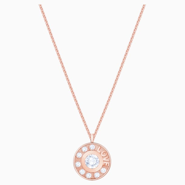 Admiration Round Pendant, White, Rose-gold tone plated - Swarovski, 5438585