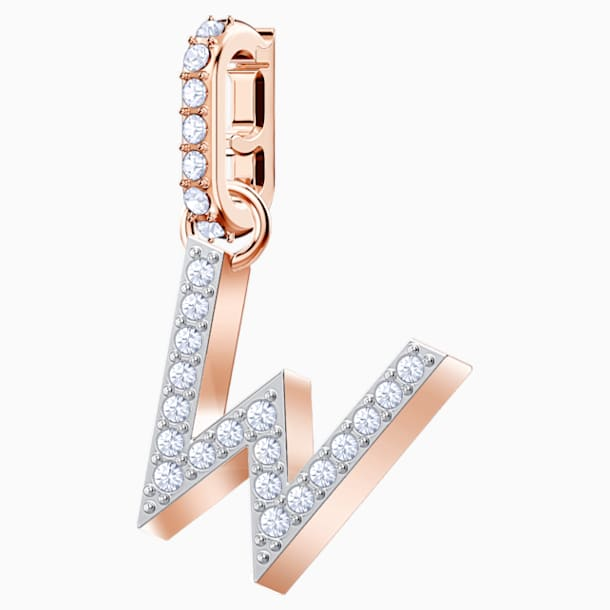Swarovski Remix Collection Charm W, White, Rose-gold tone plated - Swarovski, 5440422