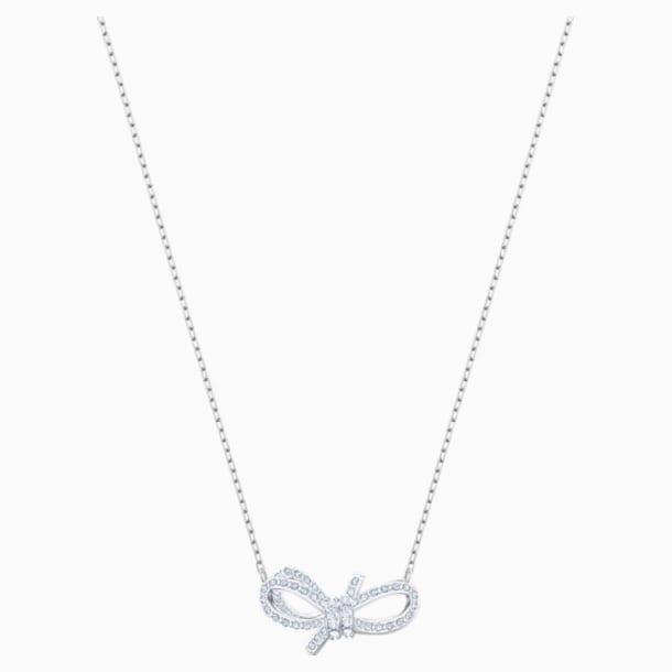 Náhrdelník Lifelong Bow, Bílý, Rhodiem pokovený - Swarovski, 5440643