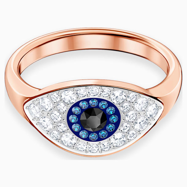 Swarovski Symbolic Evil Eye Ring, Blue, Rose-gold tone plated - Swarovski, 5441202