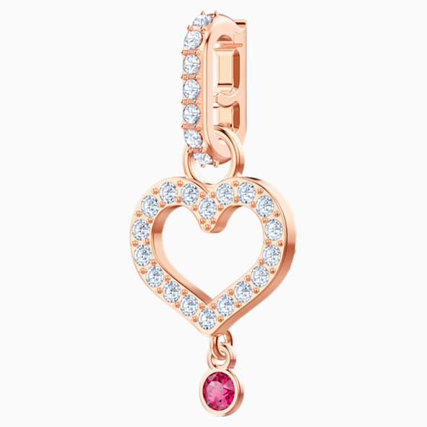 Swarovski Remix Collection Heart Charm, White, Rose-gold tone plated - Swarovski, 5441398