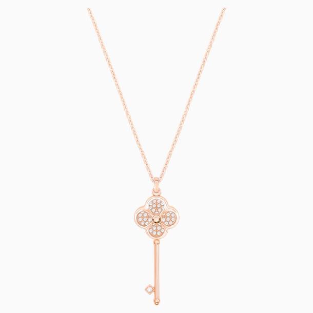 Hall Key Pendant, White, Rose-gold tone plated - Swarovski, 5444321
