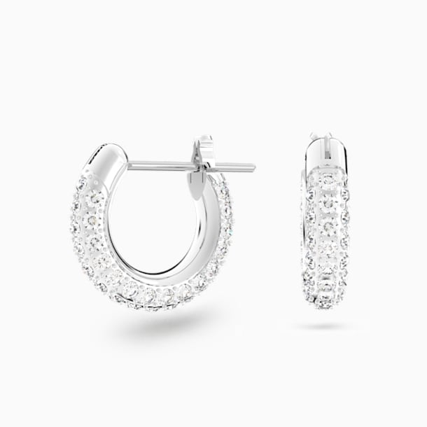 Stone Pierced Earrings, White, Rhodium plated - Swarovski, 5446004