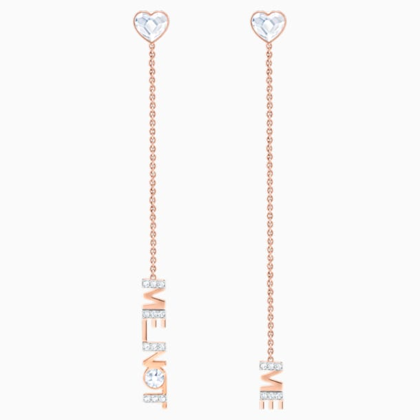 Melt Your Heart Pierced Earrings, White, Rose-gold tone plated - Swarovski, 5446016