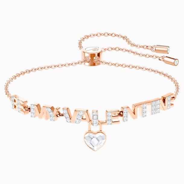 Melt Your Heart Bracelet, White, Rose-gold tone plated - Swarovski, 5446017