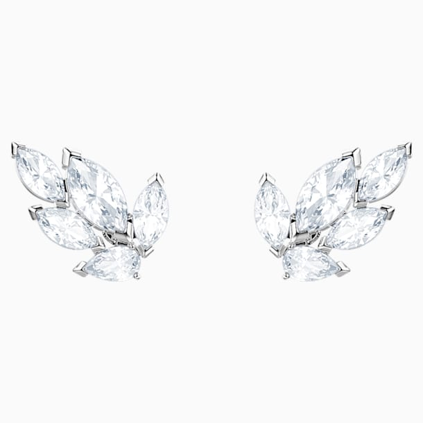 Louison Stud Pierced Earrings, White, Rhodium plated - Swarovski, 5446025