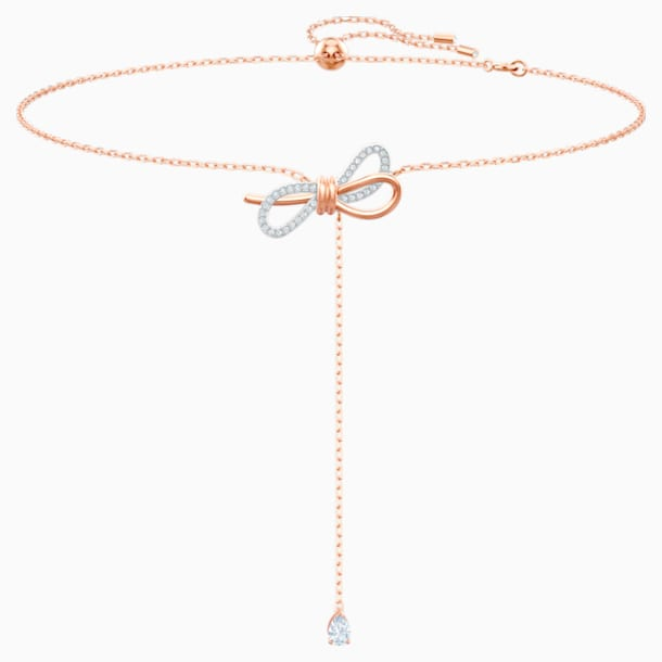Lifelong Bow Y Necklace, White, Mixed metal finish - Swarovski, 5447082