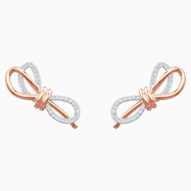 Pendientes Lifelong Bow, blanco, Combinación de acabados metálicos - Swarovski, 5447089