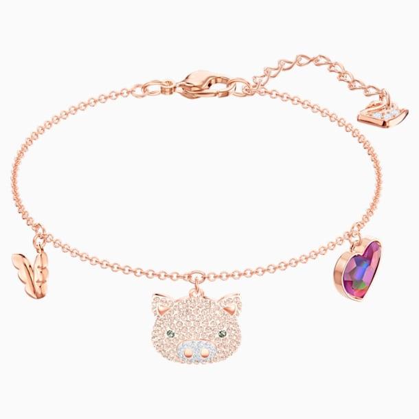 Little Pig Bracelet, Multi-colored, Rose-gold tone plated - Swarovski, 5447482