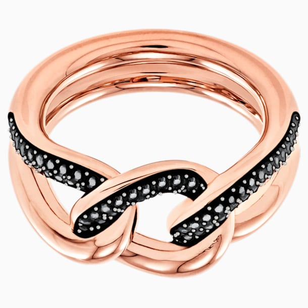 Lane Motif Ring, Black, Rose-gold tone plated - Swarovski, 5448833